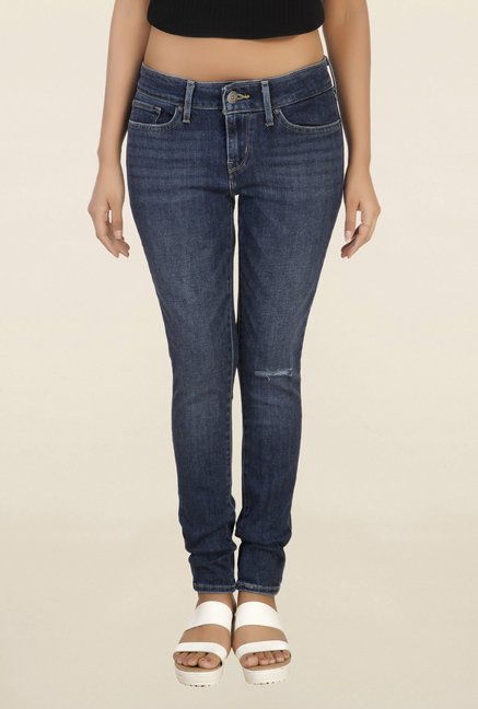 Levi's 711 Blue Skinny Fit Tattered Jeans
