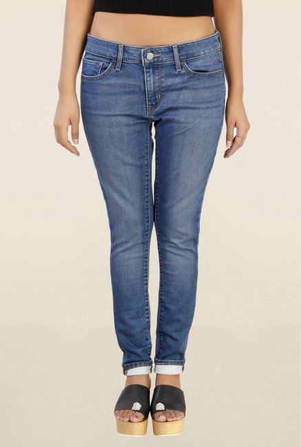 Levi's 711 Blue Skinny Fit Lightly Washed Jeans