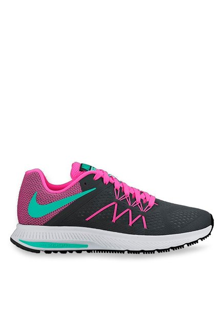 info for 825bb a7179 Buy Nike Zoom Winflo 3 Black   Pink Running Shoes for Women at Best Price    Tata CLiQ