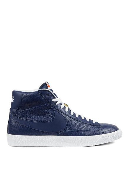 57b778601f9d Buy Nike Blazer Mid PRM Navy Ankle High Sneakers for Men at Best Price    Tata CLiQ