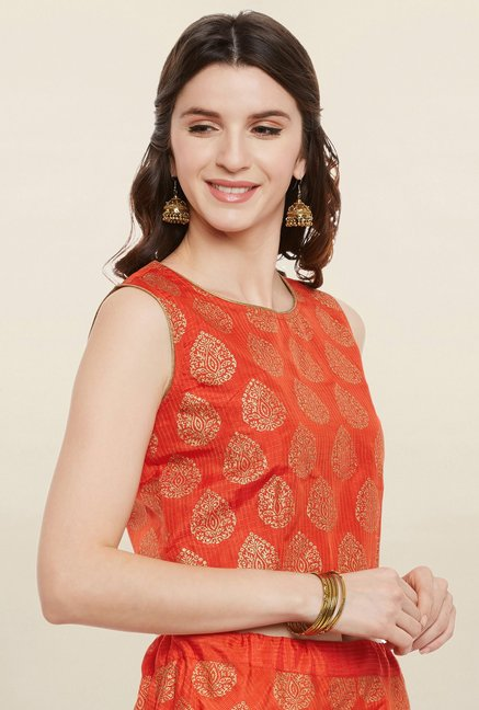 9rasa Orange Printed Faux Silk Skirt