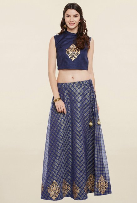 9rasa Navy Printed Faux Chanderi Skirt