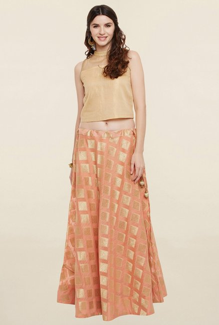 9rasa Peach Zari Boota Faux Chanderi Skirt