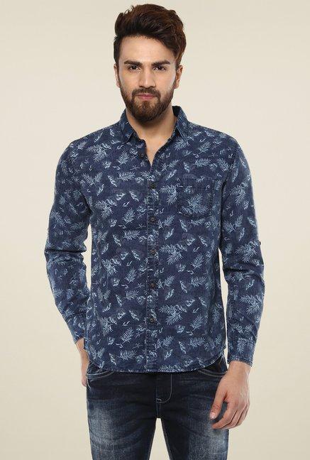 0fbe27c0 Buy Mufti Navy Slim Fit Printed Shirt for Men Online @ Tata CLiQ