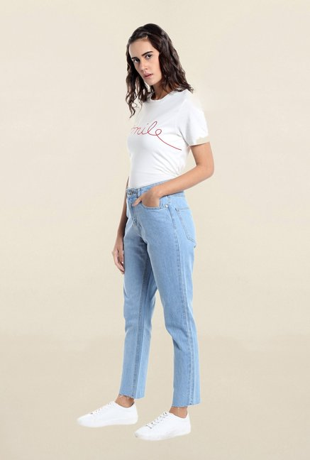 Vero Moda Blue Raw Denim Loose Fit Jeans