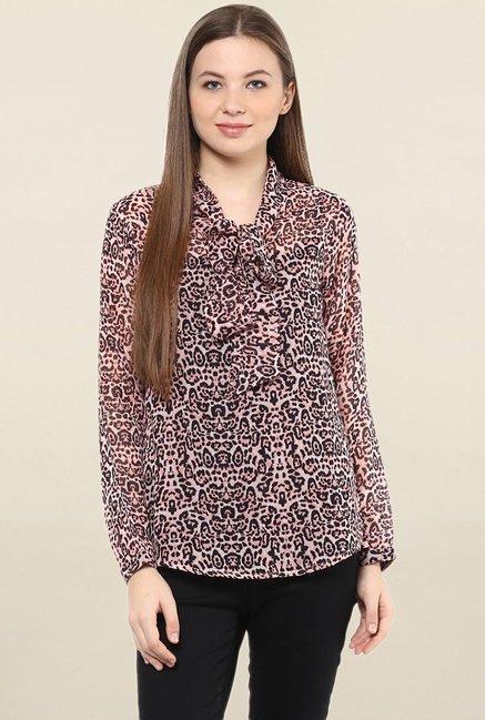 e1dcdcfc6fd56a Buy Mayra Peach Printed Top for Women Online   Tata CLiQ