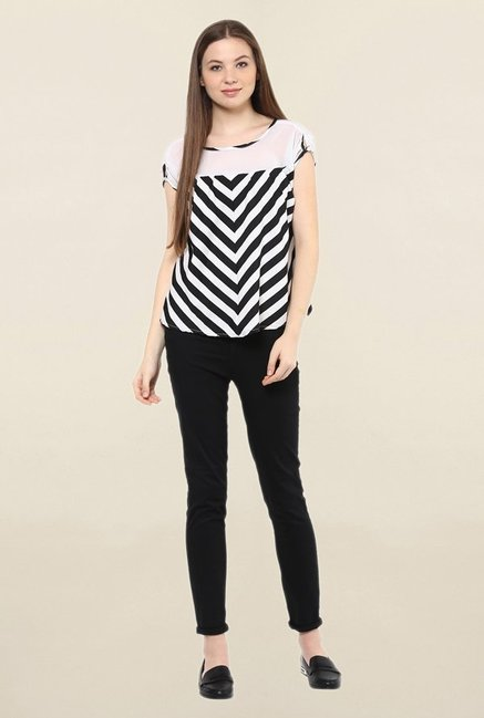 Mayra White Striped Top