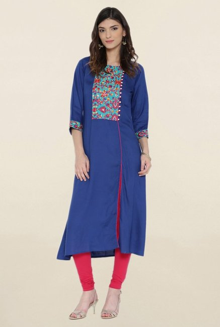 Shree Navy Embroidered Kurta