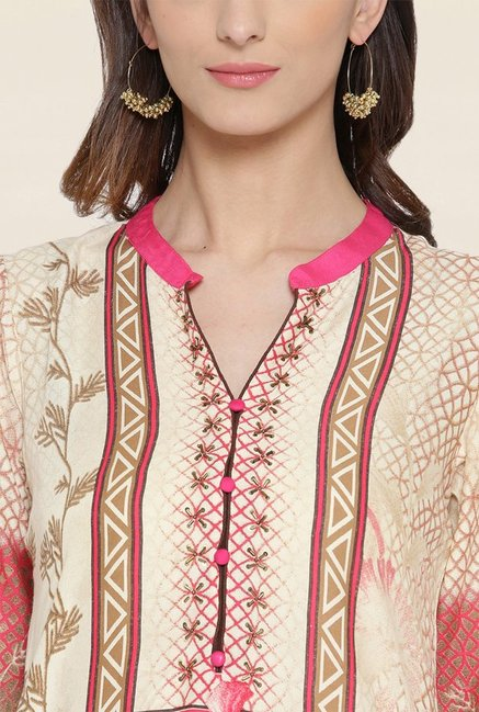 Shree Pink & Beige Printed Kurta