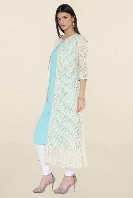 Shree Blue & Cream Lace Kurta With Cape