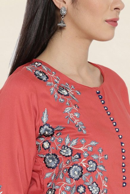 Shree Rust Embroidered Kurta