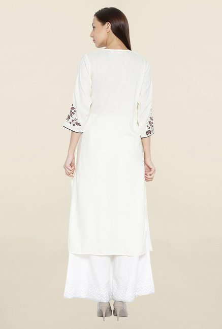 Shree Off White Embroidered Kurta