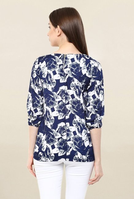 Mayra Blue Printed Top