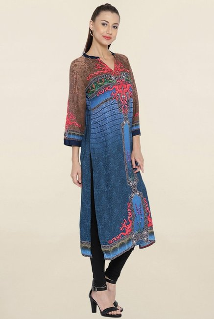 Shree Blue & Brown Printed Kurta