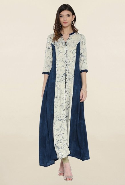 Shree Cream & Navy Printed Kurta