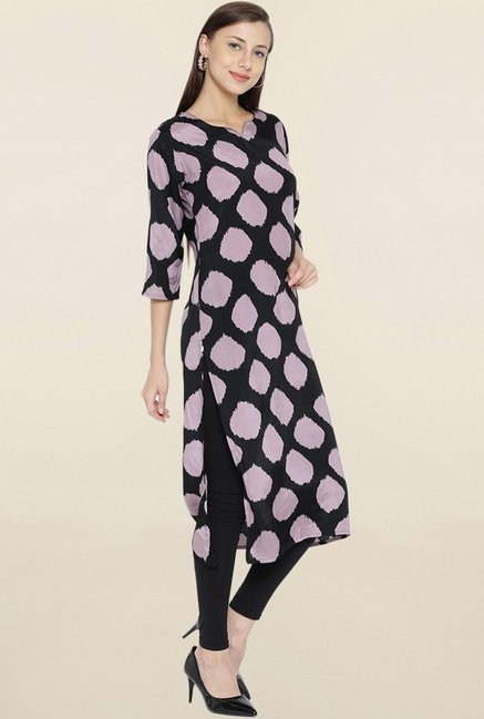 Shree Black & Mauve Printed Kurta