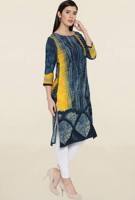 Shree Yellow & Navy Printed Kurta