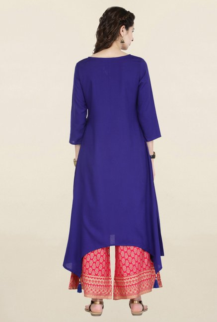 Varanga Blue & Pink Embroidered Kurta With Palazzo