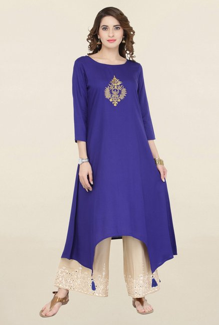 Varanga Blue & Beige Embroidered Kurta With Palazzo
