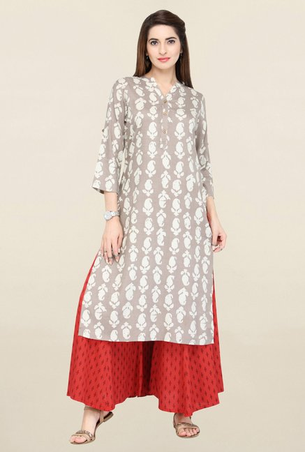 Varanga Beige & Red Printed Kurta With Palazzo