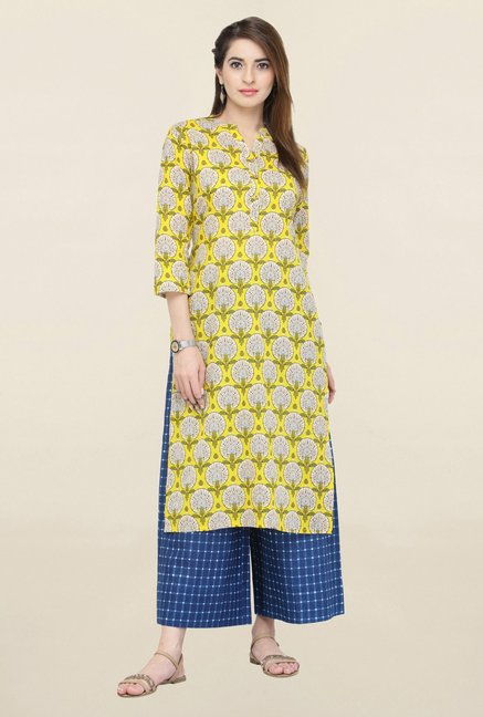 Varanga Yellow & Blue Printed Kurta With Palazzo