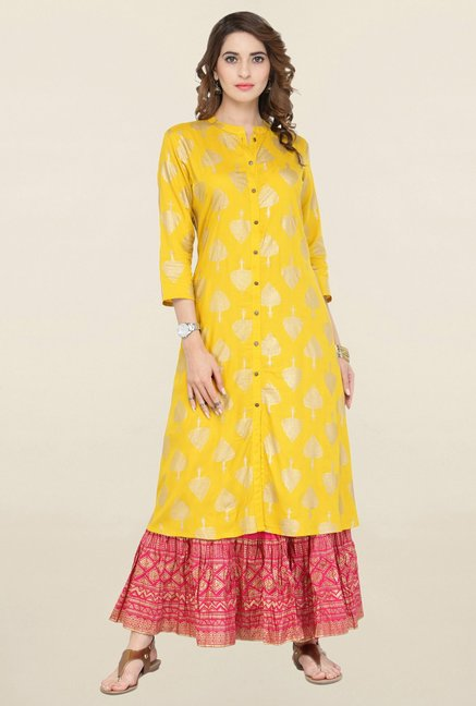 Varanga Yellow & Pink Printed Kurta With Skirt