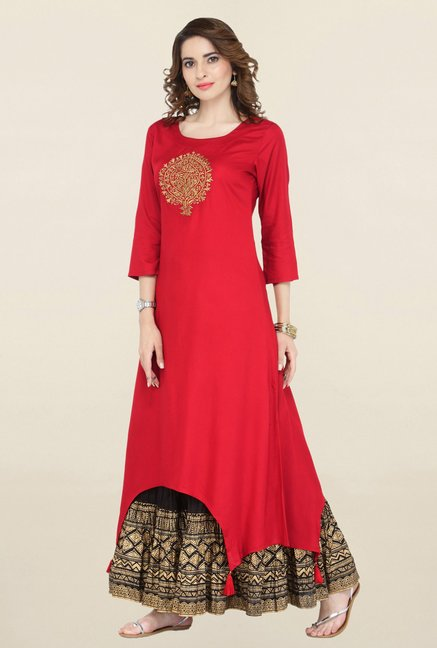 Varanga Red Embroidered Viscose Kurta