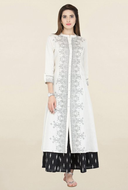 Varanga White Printed Cotton Kurta