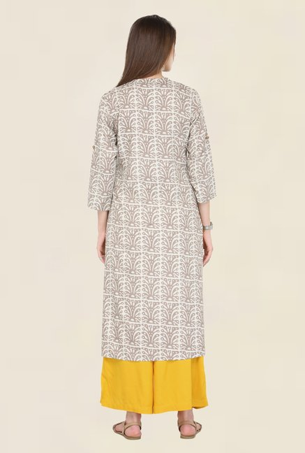 Varanga Beige & Yellow Printed Kurta With Palazzo
