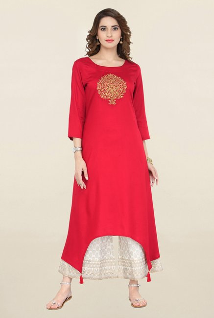 Varanga Red & White Embroidered Kurta With Palazzo
