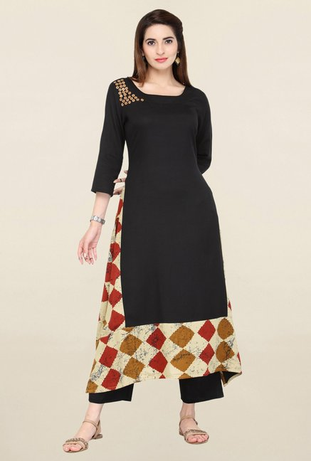 Varanga Black Solid Kurta With Pants