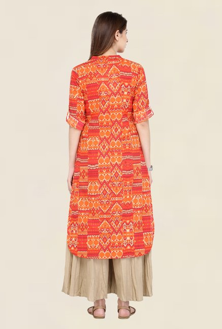 Varanga Orange & Beige Printed Kurta With Palazzo