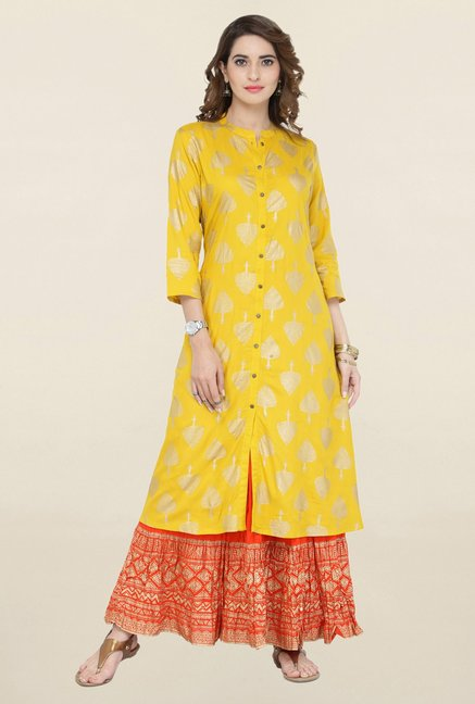 Varanga Yellow & Orange Printed Kurta With Skirt