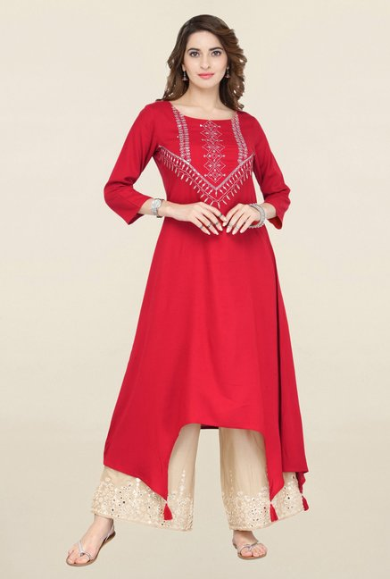 Varanga Red & Beige Embroidered Kurta With Palazzo