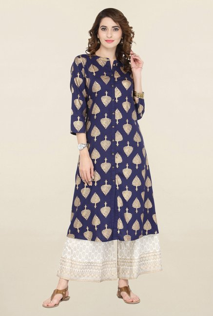 Varanga Blue & White Printed Kurta With Palazzo
