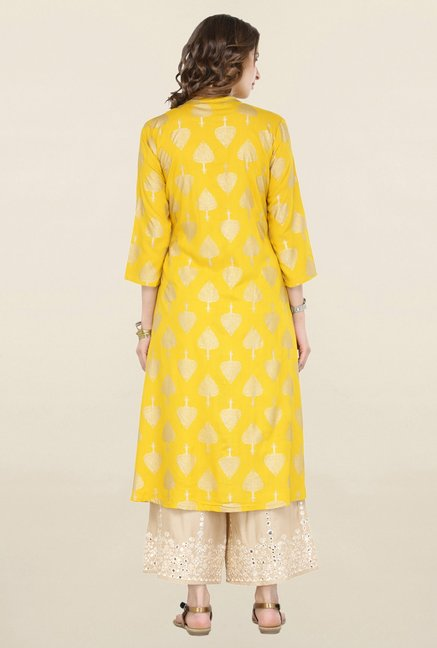 Varanga Yellow & Beige Printed Kurta With Palazzo