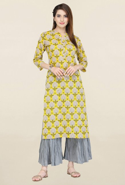 Varanga Yellow & Grey Printed Kurta With Palazzo
