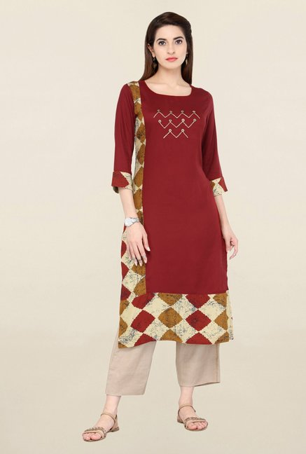 Varanga Red & Beige Embroidered Kurta With Pants