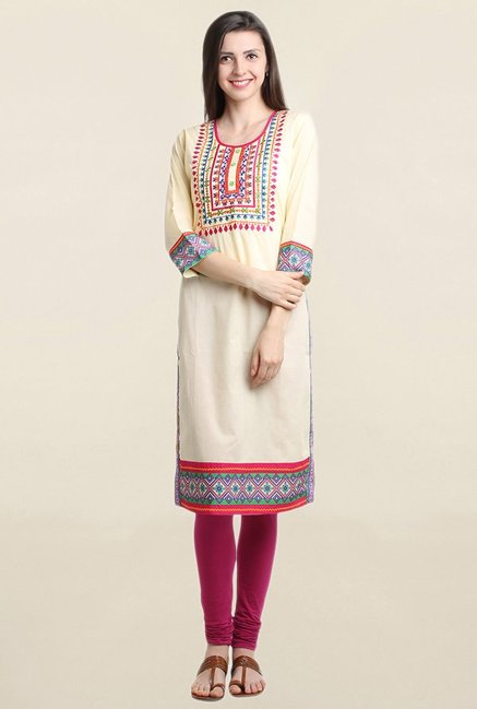 Suthidori Yellow & Beige Embroidered Kurta