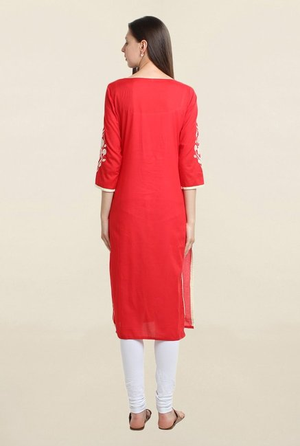 Suthidori Red Embroidered Kurta