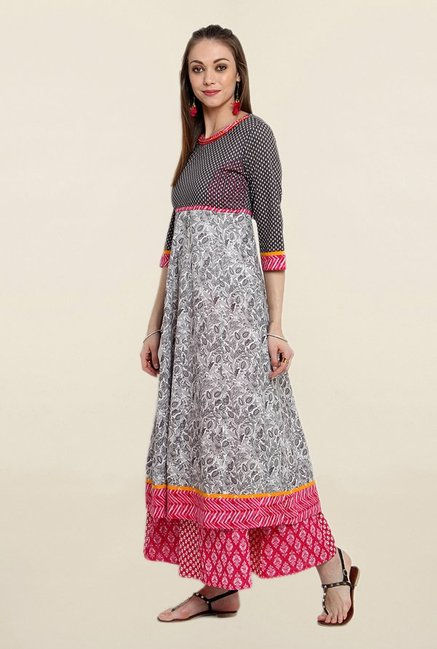 Suthidori Grey & Black Printed Kurta
