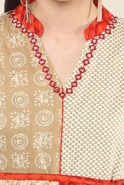 Suthidori Beige & Orange Printed Anarkali Kurta