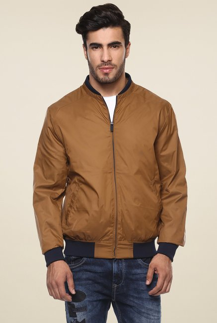 b7ff56cc279 Buy Mufti Brown Full Sleeves Slim Fit Bomber Jacket for Men Online ...
