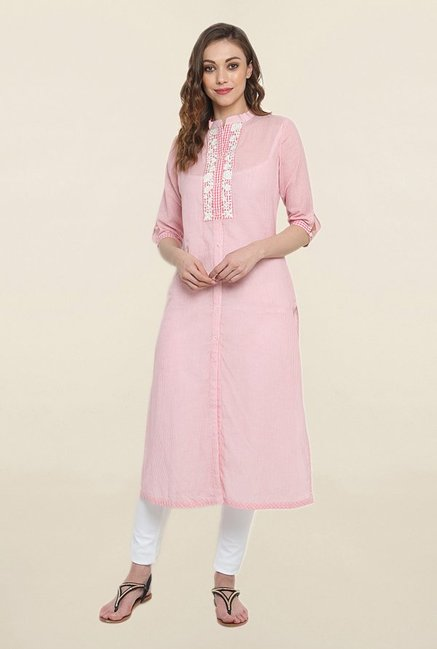 Suthidori Pink Embroidered Straight Kurta