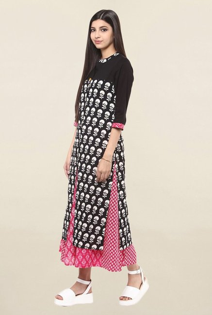Suthidori Black Printed Straight Kurta