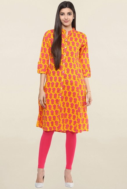 Suthidori Yellow Printed Kurta