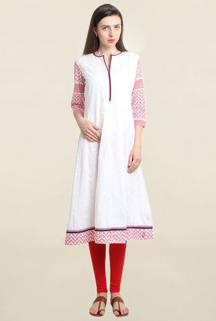 Suthidori White Embroidered Anarkali Kurta