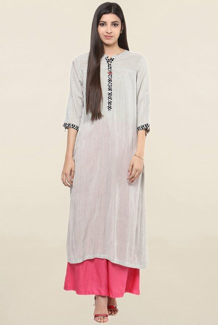 Suthidori Grey Striped Kurta