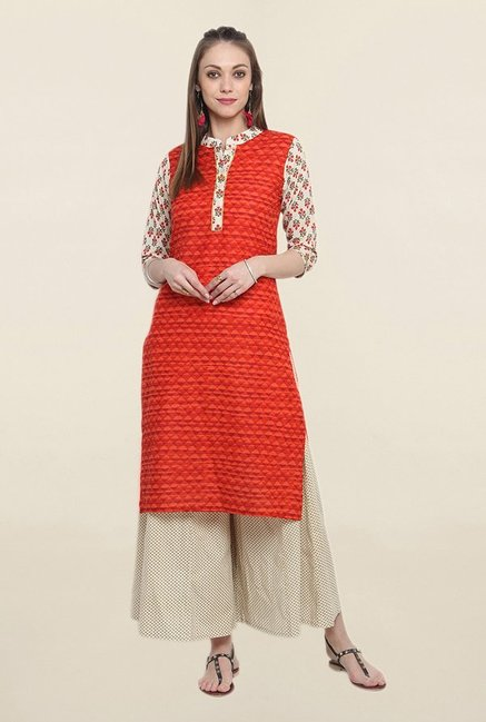 Suthidori Red Printed Kurta
