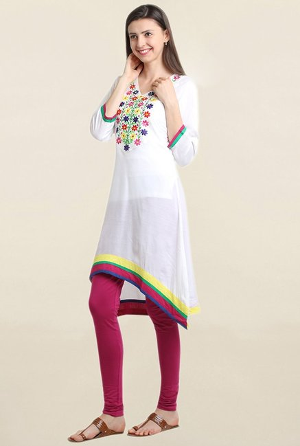 Suthidori White Embroidered Asymmetric Kurta